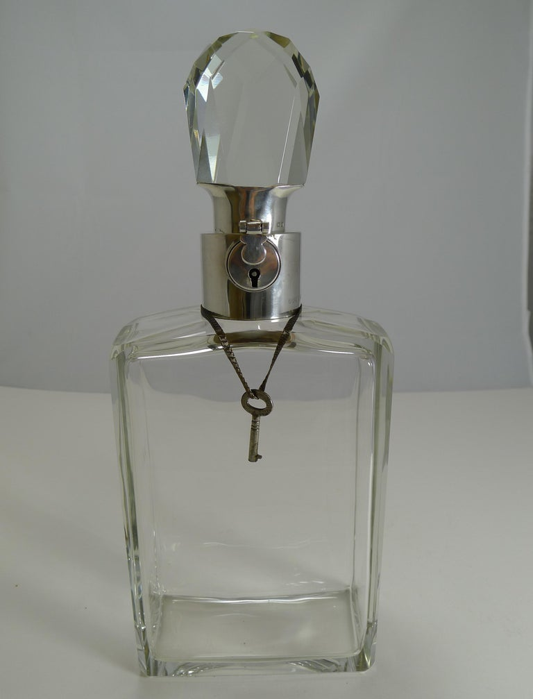 English Art Deco Crystal and Sterling Silver Locking Decanter by Hukin and Heath For Sale 2