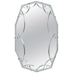 English Art Deco Decagonal Oval Reverse-Cut Beveled Mirror