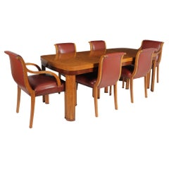 English Art Deco Dining Table and Chairs, c 1930