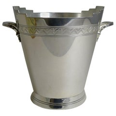 English Art Deco Electroplated Ice Bucket by Keith Murray for Mappin and Webb