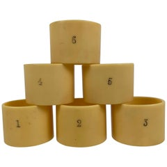 English Art Deco Era Numbered French Ivory Celluloid Napkin Rings, Set of 6