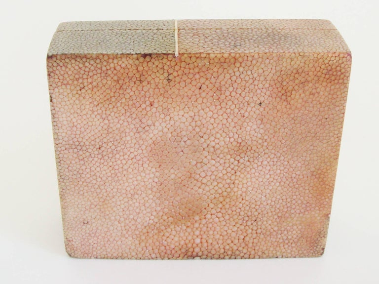 English Art Deco Geometric Two-Tone Shagreen with Bone Cigarette or Trinket Box For Sale 1