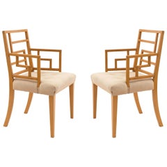 English Art Deco / Midcentury Geometric Upholstered Armchairs