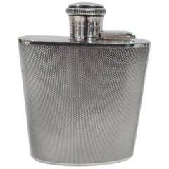 English Art Deco Modern Sterling Silver Mini Hip Flask