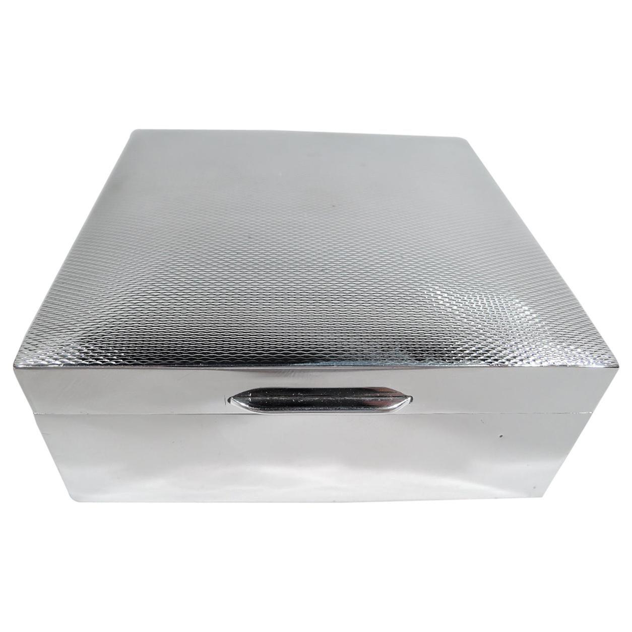 English Art Deco Modern Sterling Silver Trinket Box