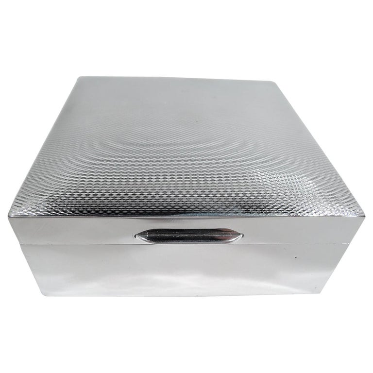 English Art Deco Modern Sterling Silver Trinket Box For Sale