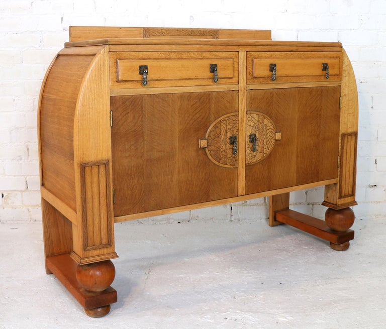 Oak Dining Room Set Sideboard Table Pressback Chairs