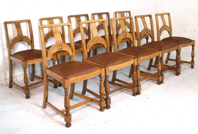 English Art Deco Oak 12 Piece Dining Suite of Table, Chairs & Sideboard For Sale 11