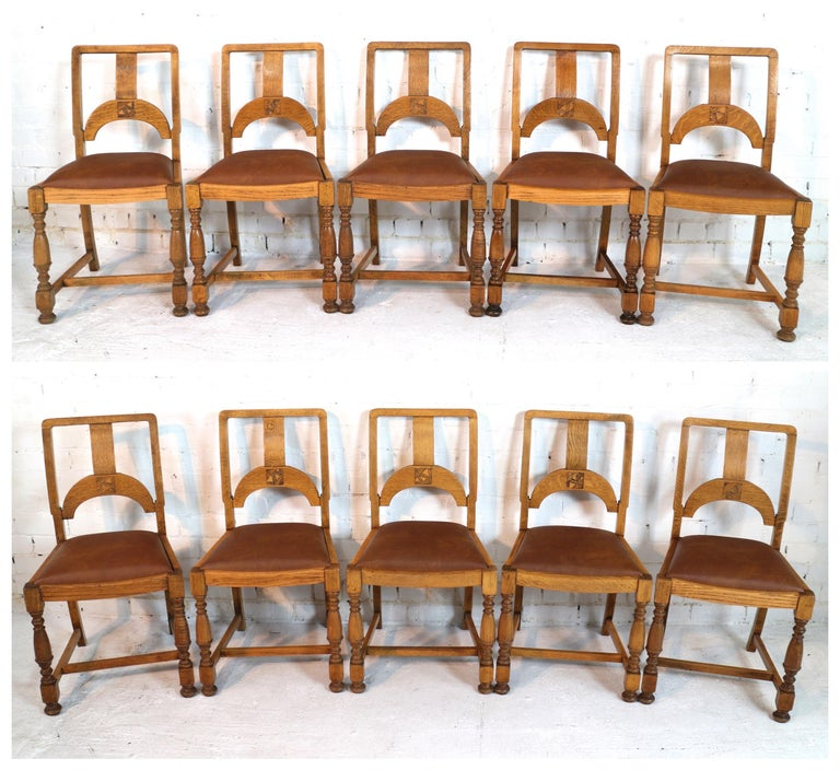 English Art Deco Oak 12 Piece Dining Suite of Table, Chairs & Sideboard For Sale 12