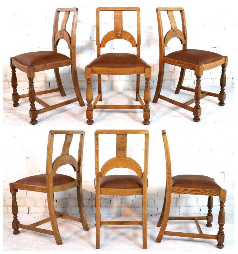 12 Piece Dining Room Set: English Art Deco Oak 12 Piece Dining Suite Of Table