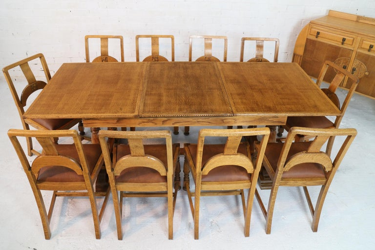 English Art Deco Oak 12 Piece Dining Suite Of Table Chairs Sideboard