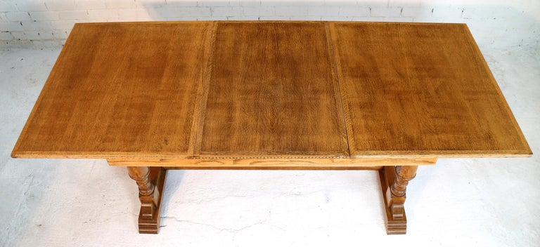 English Art Deco Oak 12 Piece Dining Suite of Table, Chairs & Sideboard For Sale 1