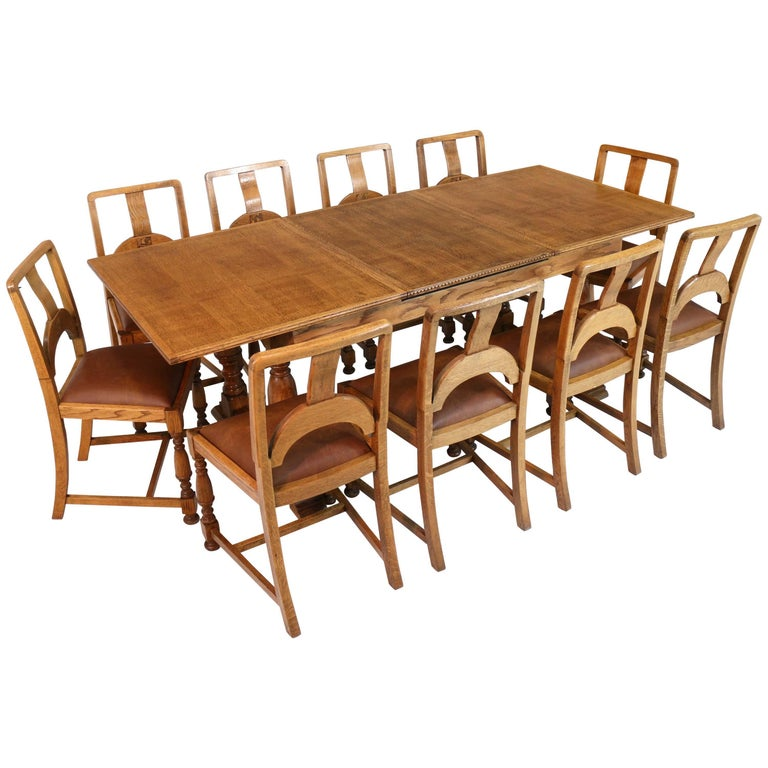 English Art Deco Oak 12 Piece Dining Suite of Table, Chairs & Sideboard For Sale