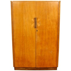 English Art Deco Oak Wardrobe Inlaid Armoire