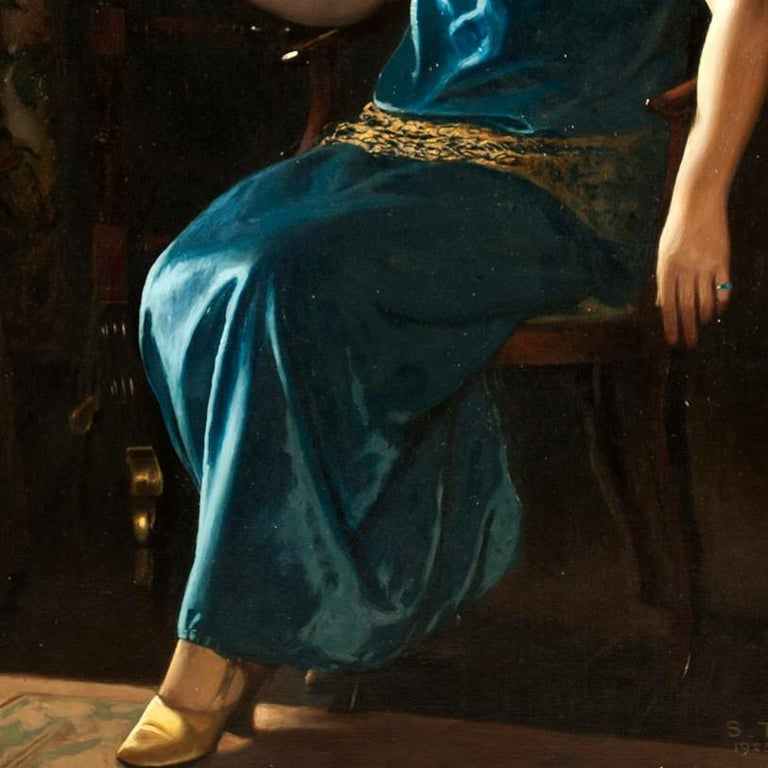 English Art Deco Painting of 'the Blue Girl' by Stanley Thompson In Excellent Condition For Sale In London, GB