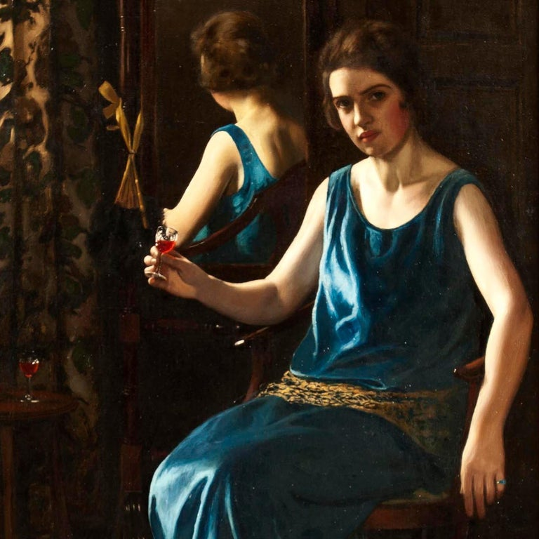 20th Century English Art Deco Painting of 'the Blue Girl' by Stanley Thompson For Sale