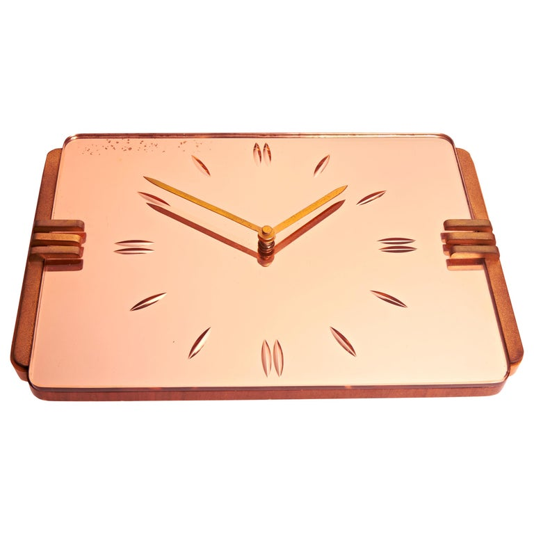 English Art Deco Reverse Etched Peach Mirror, Brass and Blonde Walnut Wall Clock For Sale