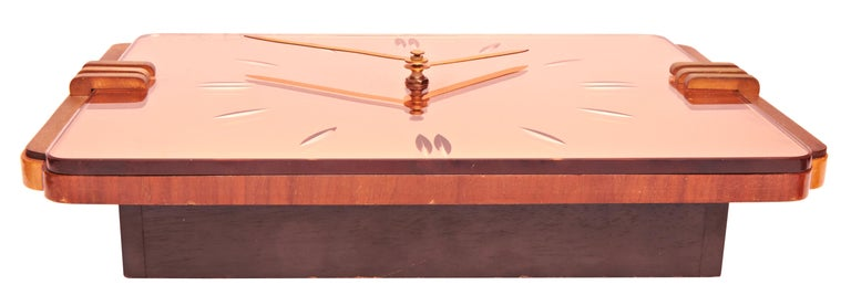 Cast English Art Deco Reverse Etched Peach Mirror, Brass and Blonde Walnut Wall Clock For Sale