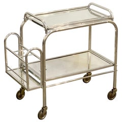 English Art Deco Rolling Drinks Cart of Brushed Aluminum and Glass