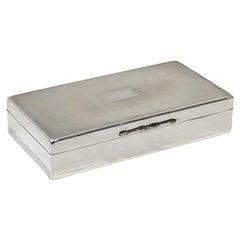 English Art Deco Silver Box with Wood Liner