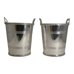 English Art Deco Silver Plated Wine / Champagne Coolers by Lee and Wigfull, Pair