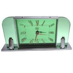 English Art Deco Smiths Green Glass and Chrome Clock