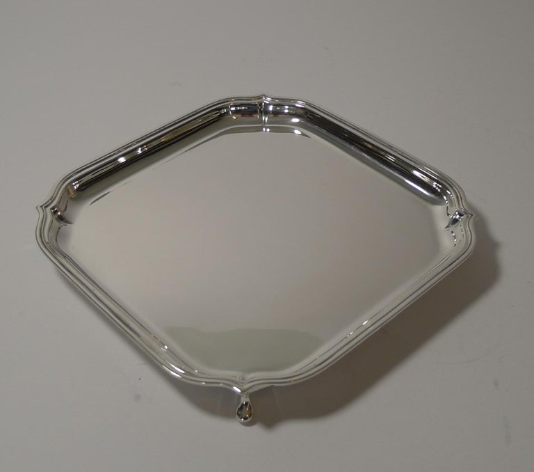 English Art Deco Square Solid Sterling Silver Salver or Tray For Sale 1