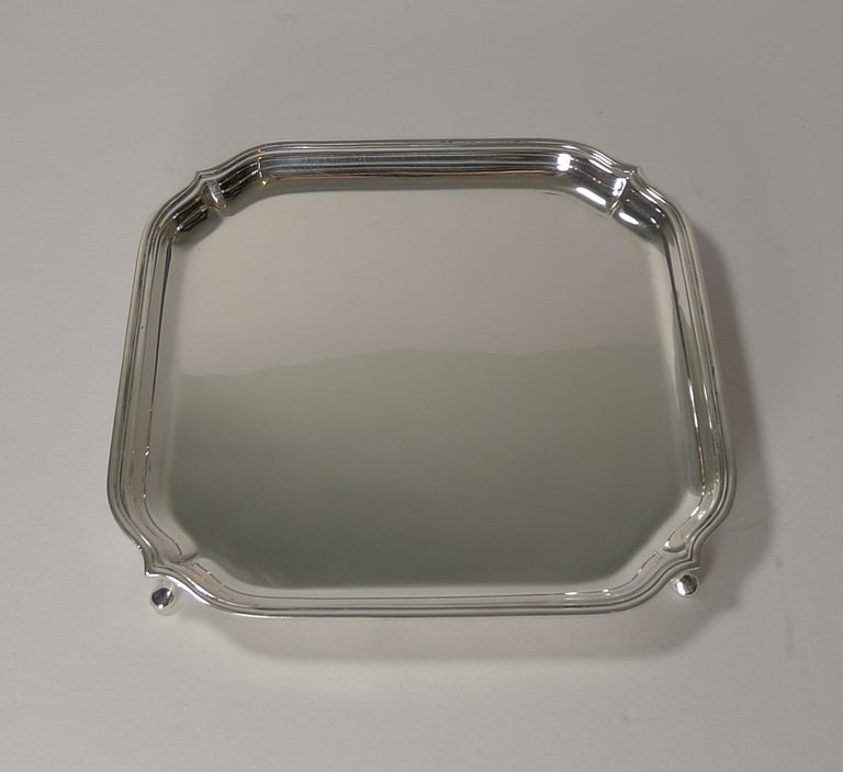 English Art Deco Square Solid Sterling Silver Salver or Tray For Sale 2