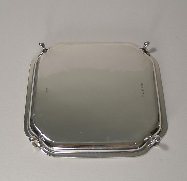 English Art Deco Square Solid Sterling Silver Salver or Tray For Sale 4