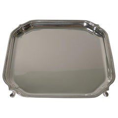 English Art Deco Square Solid Sterling Silver Salver or Tray