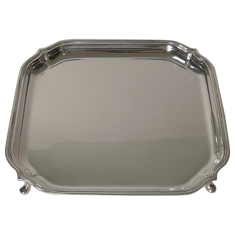 English Art Deco Square Solid Sterling Silver Salver or Tray For Sale
