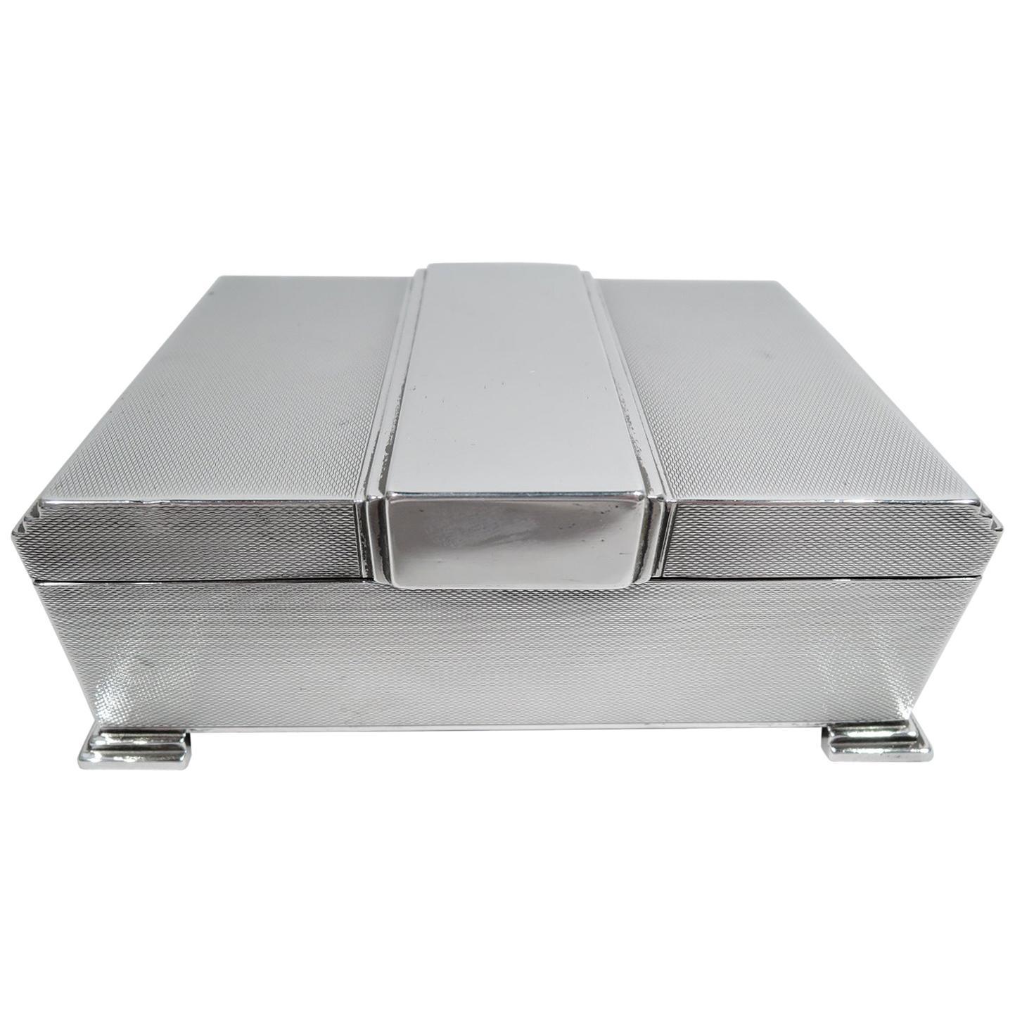 English Art Deco Sterling Silver Box with Skyscraper Motif