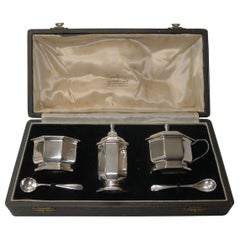 English Art Deco Sterling Silver Condiment Set by Henry Clifford Davis