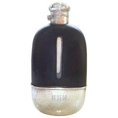 English Art Deco Sterling Silver, Crystal and Leather Hip Flask