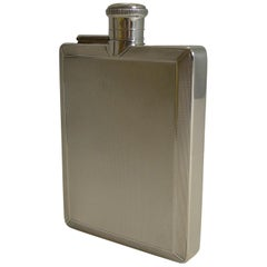 English Art Deco Sterling Silver Hip Flask by Mappin and Webb