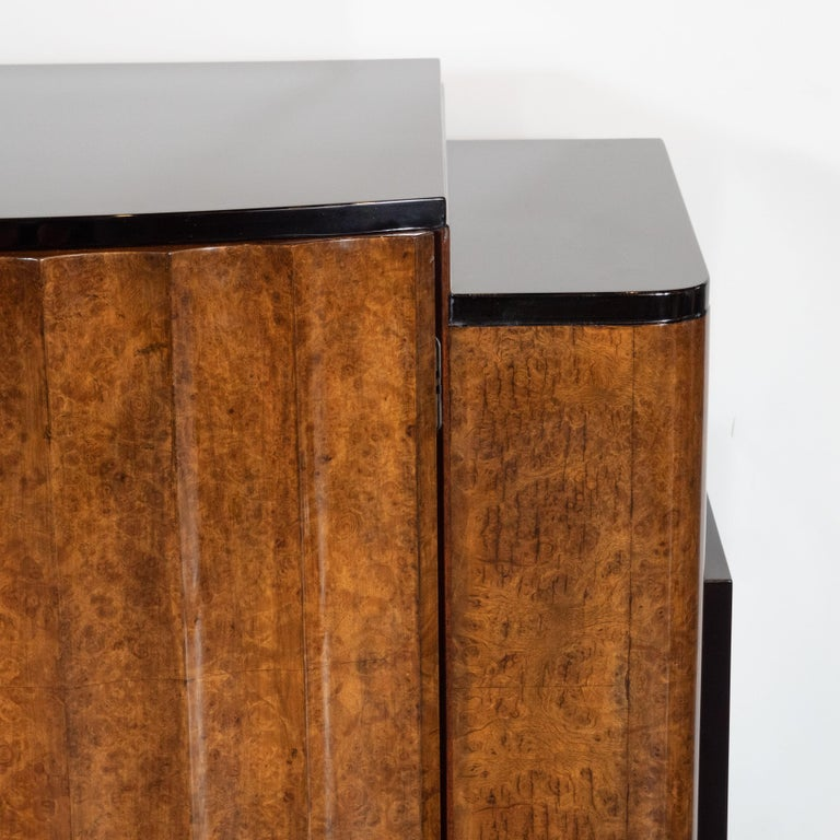 British English Art Deco Streamlined Black Lacquer & Burled Carpathian Elm Cabinet For Sale