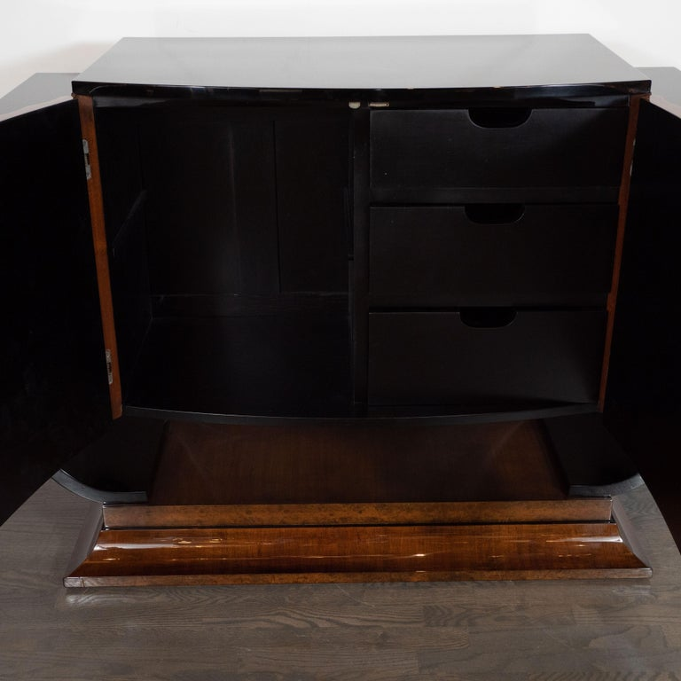 Mid-20th Century English Art Deco Streamlined Black Lacquer & Burled Carpathian Elm Cabinet For Sale