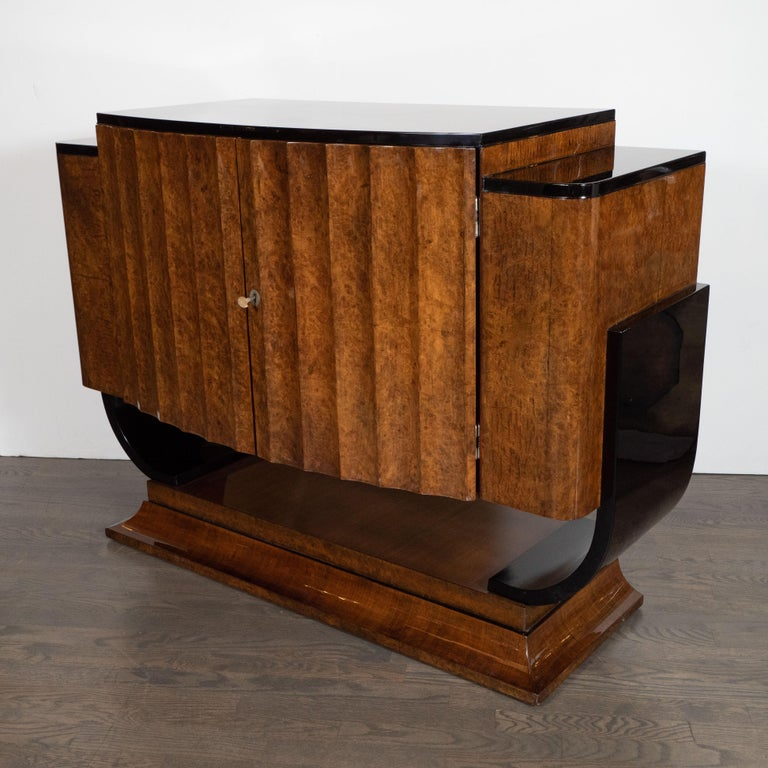 English Art Deco Streamlined Black Lacquer & Burled Carpathian Elm Cabinet For Sale 1
