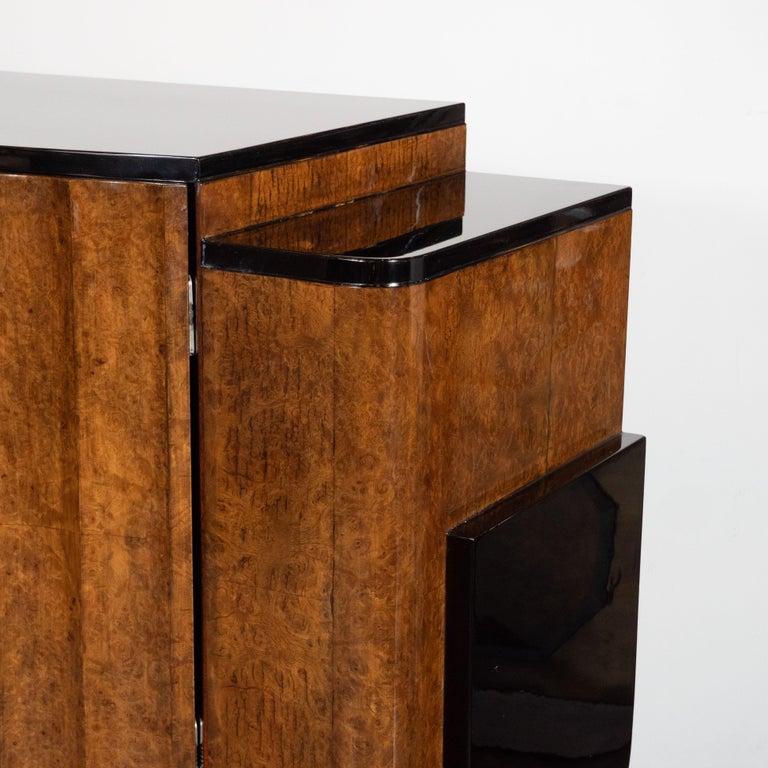 English Art Deco Streamlined Black Lacquer & Burled Carpathian Elm Cabinet For Sale 2