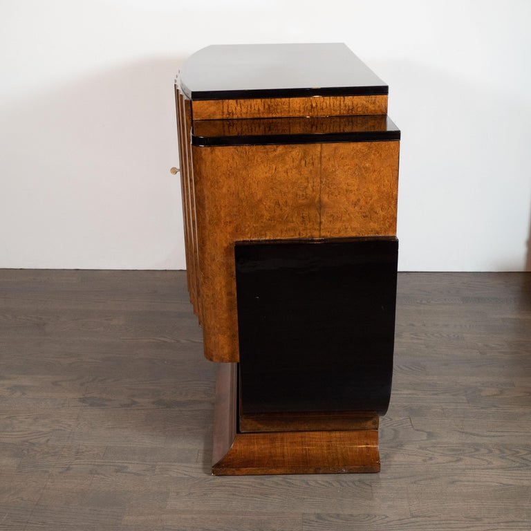 English Art Deco Streamlined Black Lacquer & Burled Carpathian Elm Cabinet For Sale 3
