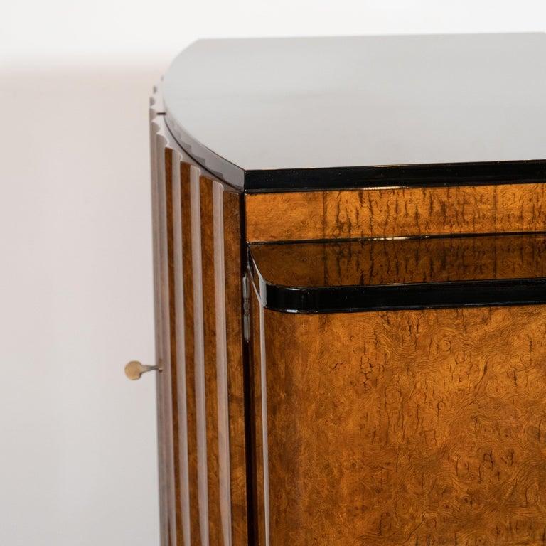 English Art Deco Streamlined Black Lacquer & Burled Carpathian Elm Cabinet For Sale 4
