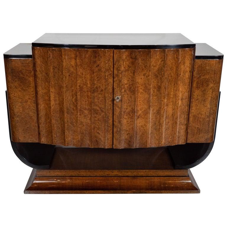 English Art Deco Streamlined Black Lacquer & Burled Carpathian Elm Cabinet For Sale
