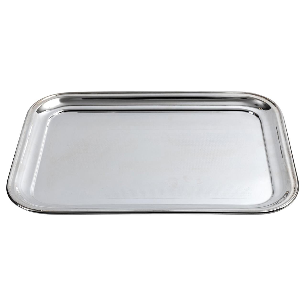 English Art Deco Style Silver Plated Serving Tray