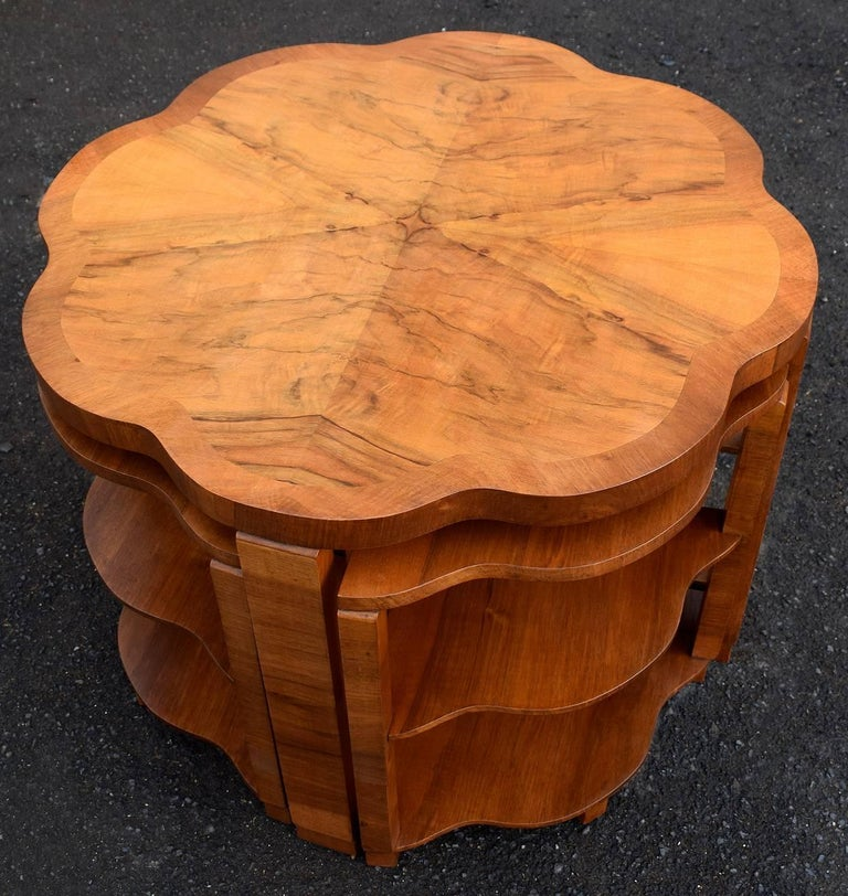Polished Art Deco Nest of Tables By Harry & Lou Epstein Burr Walnut English 1930's For Sale