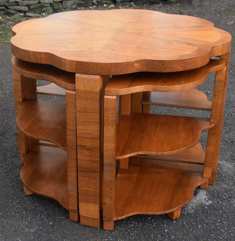 Art Deco Nest of Tables By Harry & Lou Epstein Burr Walnut English 1930's In Good Condition For Sale In Devon, England