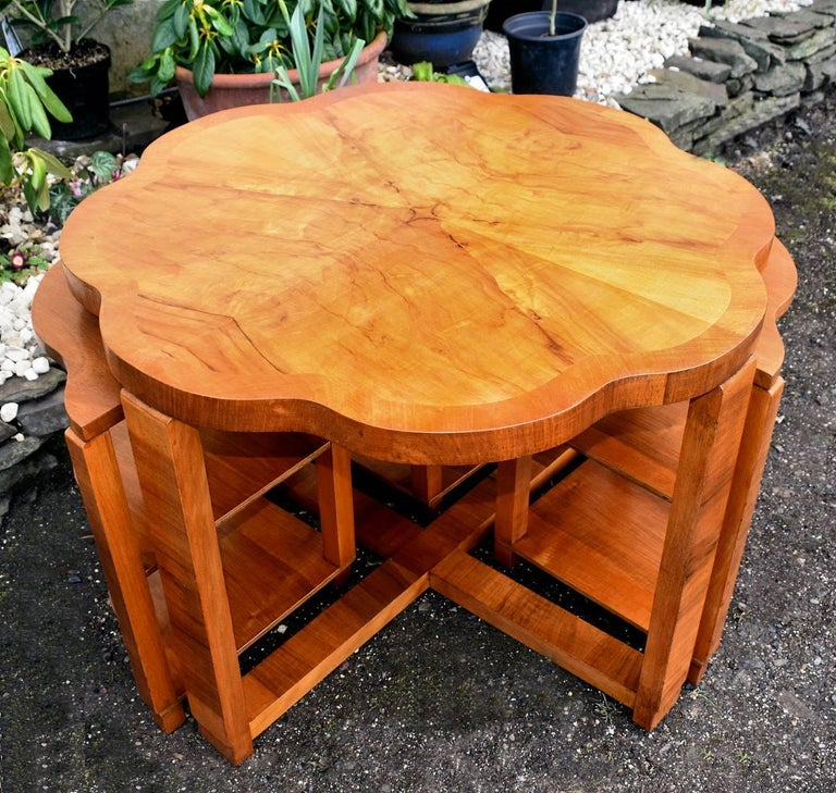 Art Deco Nest of Tables By Harry & Lou Epstein Burr Walnut English 1930's For Sale 1