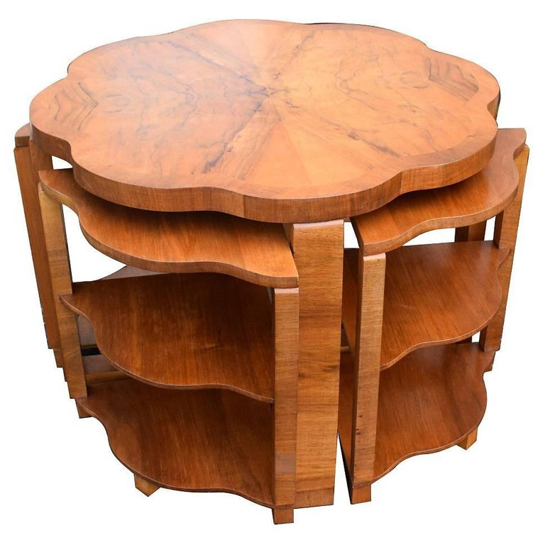 Art Deco Nest of Tables By Harry & Lou Epstein Burr Walnut English 1930's For Sale