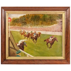English Art Moderne Horse Race Stewart's Cup Oil Painting