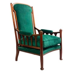 English Art Nouveau Armchair, New Green Velvet Upholstery