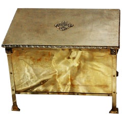 English Art Nouveau Period Brass Lidded Log Bin